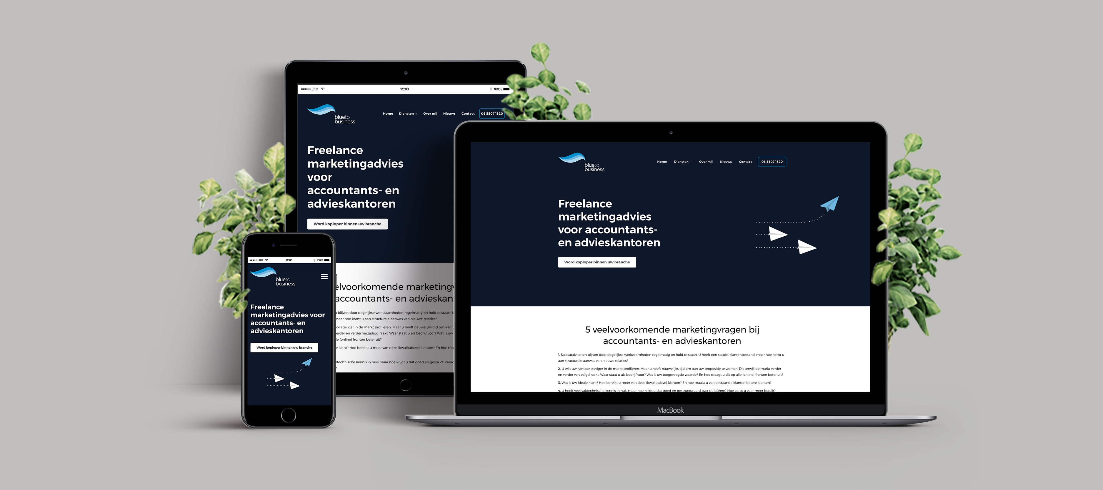 Bekijk de case over de nieuwe website voor Blue to Business - WordPress website ontwikkeling en webhosting - JKC Media B.V.